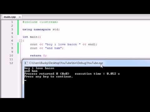 Buckys C++ Programming Tutorials - 3 - More on Printing Text - YouTube