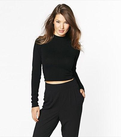 Stripe a pose in this sexy cropped mock neck sweater! Looks hot paired with our high waist soft pants.