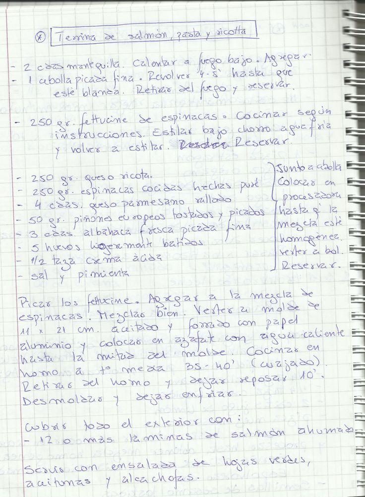 TERRINA DE SALMON, PASTA Y RICOTTA   #SALADO #PLATOS #BUDIN #PESCADO