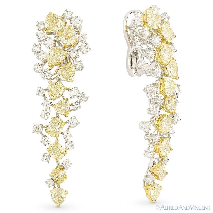 10.56 ct Yellow & White Diamond Pave Dangling Drop Chandelier Earrings 18k Gold #AlfredAndVincent #DropDangle
