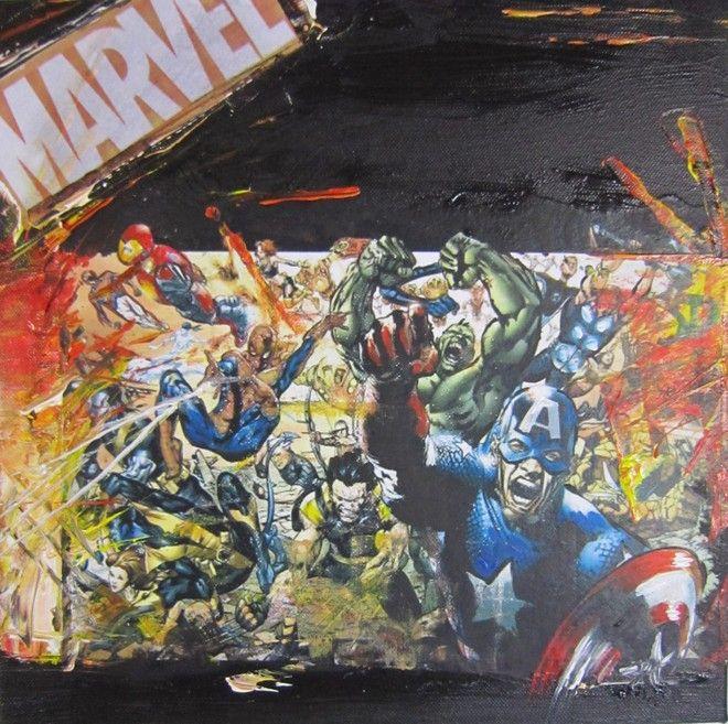 (¯`'•.QUADRO Eroi Marvel.•'´¯) quadro dipinto a mano moderno, 30X30 cm