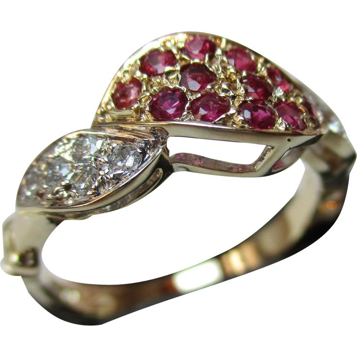 Exquisite 9ct Solid Gold Diamond + Ruby Gemstone 'Twist' Ring{0.2Ct  from qualitygoldrings on Ruby Lane