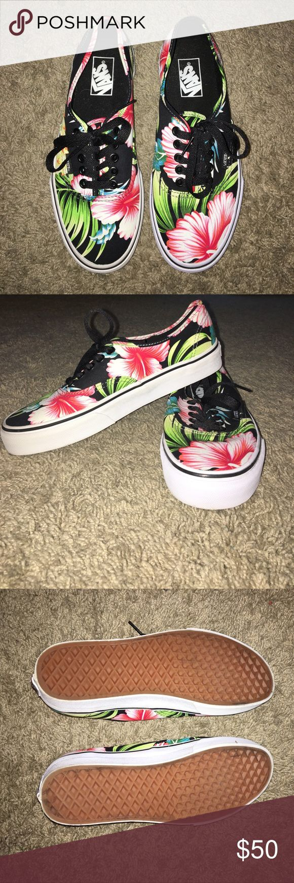 NWOT Tropical print Vans- size 8 women 6.5 men I got these back in August and completely forgot I had them so I think it's time they find a new home... Never worn. The colors on the shoes are absolutely beautiful and truly they can go with just about anything. They fit true to size and as Vans are, they're extremely comfortable. They come with black laces in them. Vans Shoes Sneakers