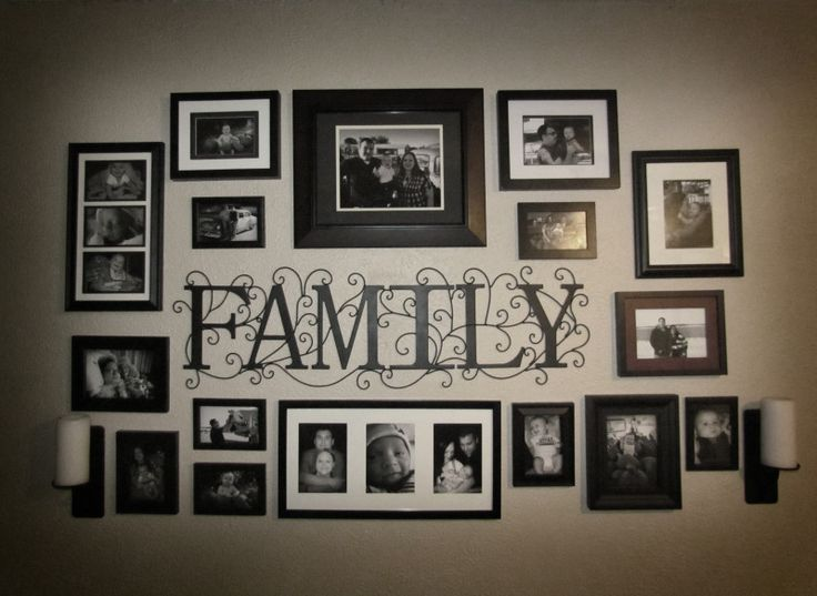 17 best images about wall collage on pinterest photo wall arrangements photo wall layout and Family pictures on living room wall
