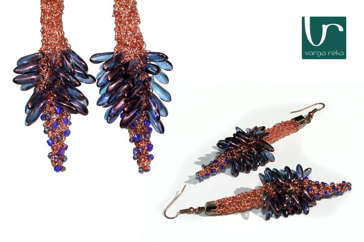 Long flower-shaped earrings with lilac petals http://www.vargareka.com/