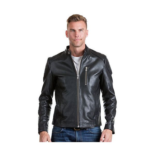 Soto Cowhide Leather Moto Jacket (675 CAD) ❤ liked on Polyvore featuring men's fashion, men's clothing, men's outerwear, men's jackets, mens quilted leather biker jacket, mens long jacket and mens quilted jacket