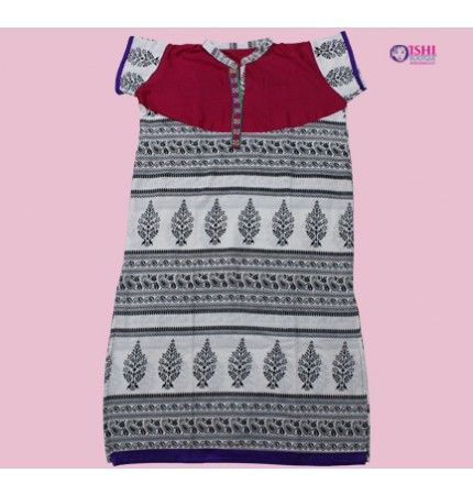 White and Black Printed Cotton Kurti