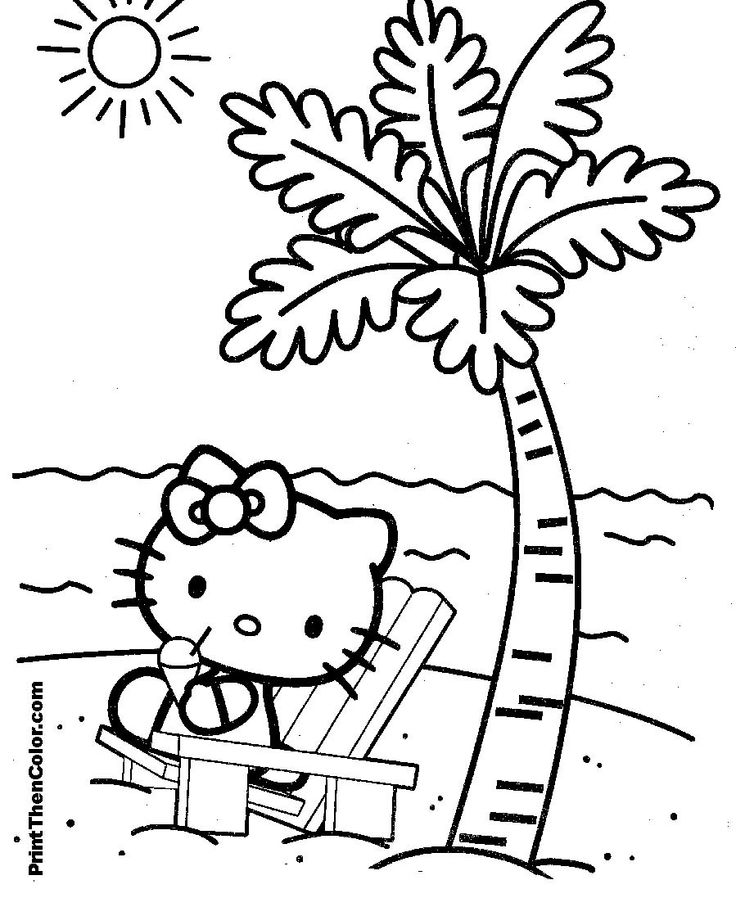 hello kitty sitting on the beach under a palm tree enjoying some sun beach coloring pagescoloring pages - Palm Tree Beach Coloring Page