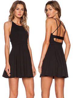 Summer Night Club Women Backless Short Black Cocktail Dress
