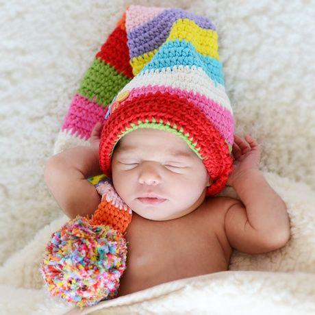 Gorro crochet duende colorines con botones divertido - Labores de crochet para bebes ...