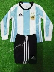 2016-17 Argentina Home Blue and White LS  Kid/Youth Soccer uniform
