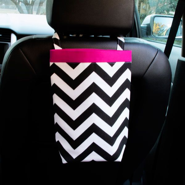 Car Trash Bag Black Chevron