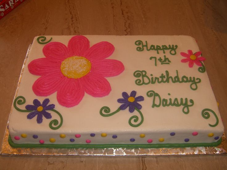 Daisy buttercream birthday sheet cake.