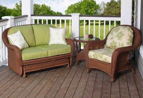 """North Cape Wicker Montclair 3-Piece Glider Package by NorthCape. $2068.97. 6"""" thick cushions with Dacron fill that include Sunbrella fabric. Beautiful cedar or cappuccino resin wicker matches most decors. Premium Deep Seating with comfortable suspension. Rust free and fully ready for the outdoors. Fully wrapped wicker frame sporting luxurious contours. The beautiful Montclair collection from NorthCape blows fresh memories of the Eastern Sea Coast into your home, washing away th..."""