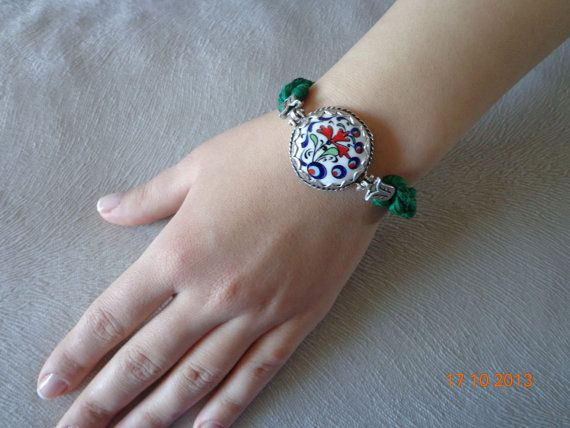 Ethnic Traditional Turkish Tiles Green Bracelet by Noblesse, $35.00
