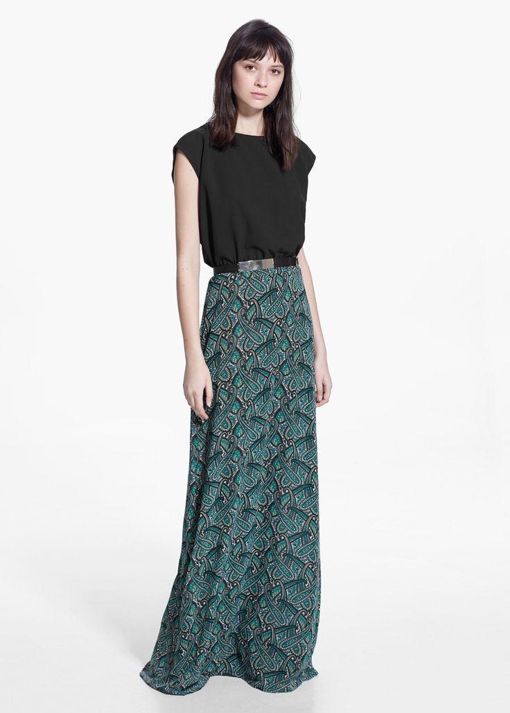 Lange paisley-jurk - Jurken voor Dames | MANGO