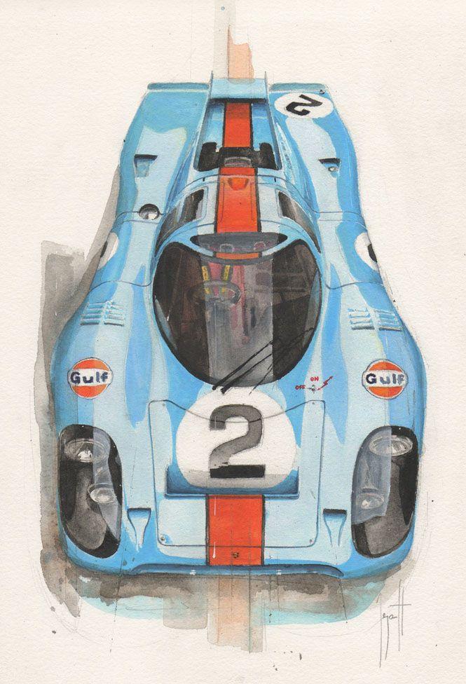 Watercolor Porsche 917 by Emmanuel Mergault - acarart.blogspot.com