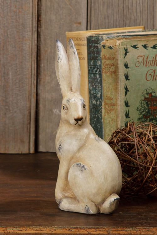 New Primitive Country Garden Vintage Style Bunny Rabbit Figurine Statue
