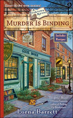 Booktown Mystery #1:  Murder Is Binding  when she finds Doris Gleason dead in her own cookbook store, killed by a carving knife, the atmosphere seems more cutthroat than cordial. Someone wanted to get their hands on the rare cookbook that Doris had recently purchased-and the locals think that someone is Tricia. To clear her name, Tricia will have to take a page out of one of her own mysteries-and hunt down someone who isn't killing by the book.