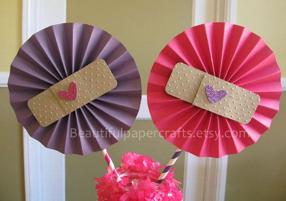 "2- 6"" Doc McStuffins Inspired Birthday Centerpieces -Paper Fans- Pinwheels-Doc McStuffins Birthday/Paper Rosettes/Candy Buffet Decorations"