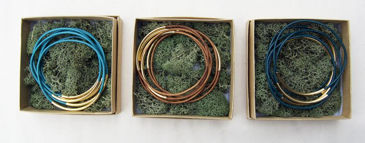 Gold and Leather Bangle Sets