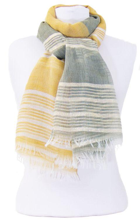 Foulard kaki jaune rayures lurex. Découvrez sur mesecharpes.com + de 150  foulards chic 637a77ad5f2