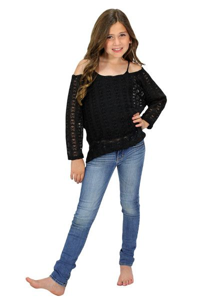 An awesome sweater with crochet mesh detail!