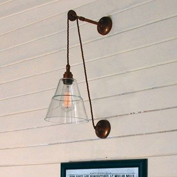 Industrial Adjustable Pulley Wall Light with Clear Glass Shade