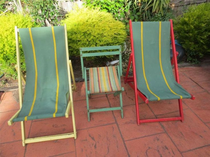 1960u0027s Outdoor Furniture Picnic, Beach Or Camping Canvas Recliner Chairs ...