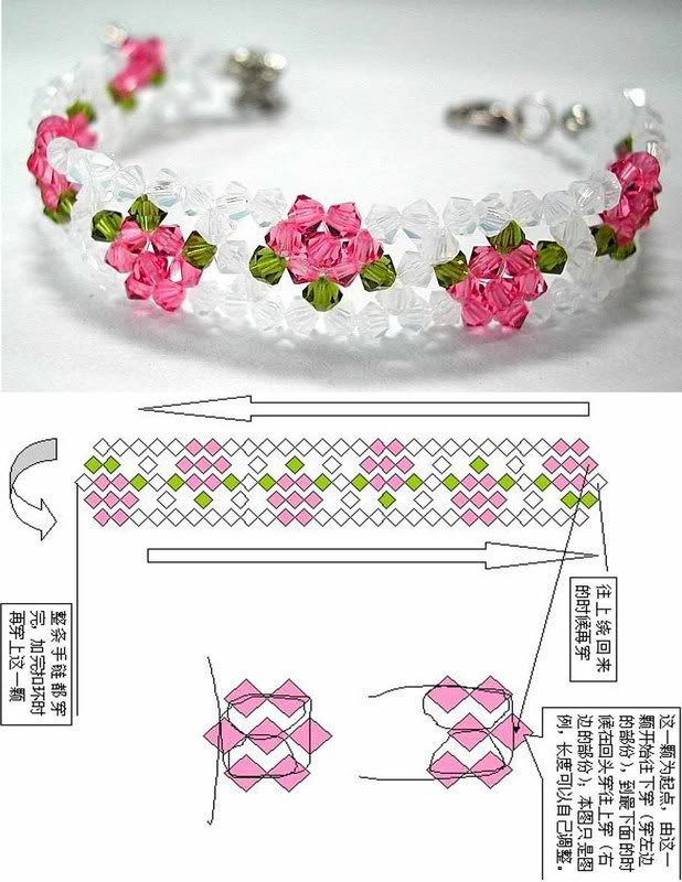 Crystal flower easy bracelet pattern