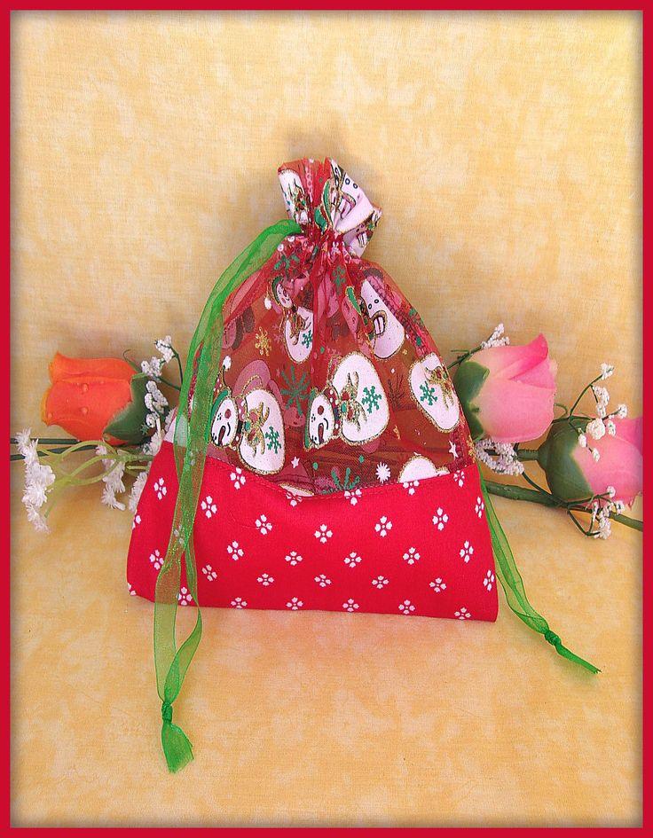 Pochette tissu Organza motif bonhomme de neige paillettes : Emballages cadeaux bijoux par orkan28
