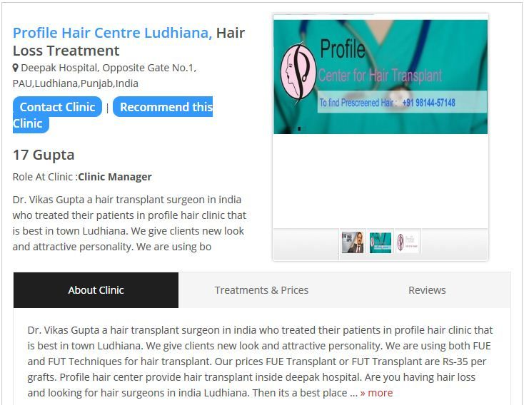 Explore my data regarding Profile Hair Centre and also know about Dr. Vikas Gupta, Clinic timing and cost for hair treatment.