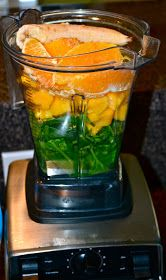 """""""FCOMBS Green Smoothie"""" (flax seed, coconut water, orange, mango, banana, spinach, ice)"""