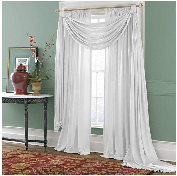 Royal Velvet Royal Velvet Hilton Big Scarf Valance Bring Graceful Elegance To Any Room With The Beautiful Curtains With Blinds Scarf Valance Living Room Blinds