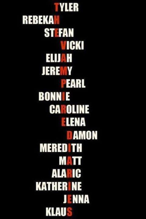 """OMG it took me like 10 seconds to find out that the red letters spell out """"The Vampire Diaries"""""""