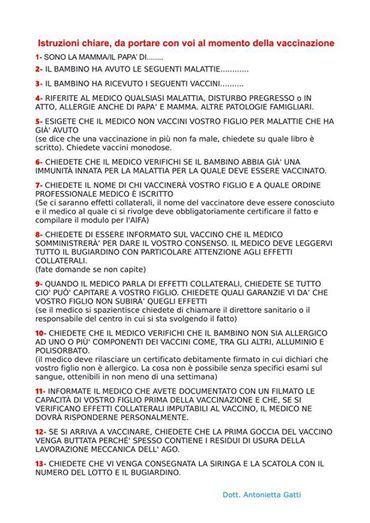 istruzioni da portare con sé in caso di vaccinazione