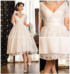 vestido de boda un vestido blanco longitud tafetán v cuello té línea con corpiño de Criss Cross - MXN $ 1,592.84