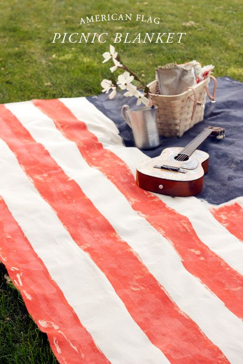 LOVE THIS!  American Flag picnic blanket.  via The House That Lars Built.