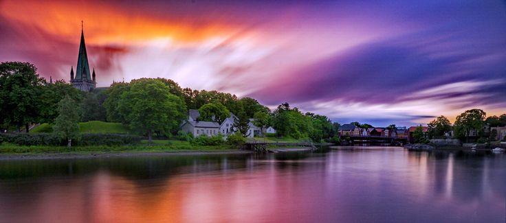 Sunset over Nidaros, Nidelva Trondheim by Aziz Nasuti on 500px