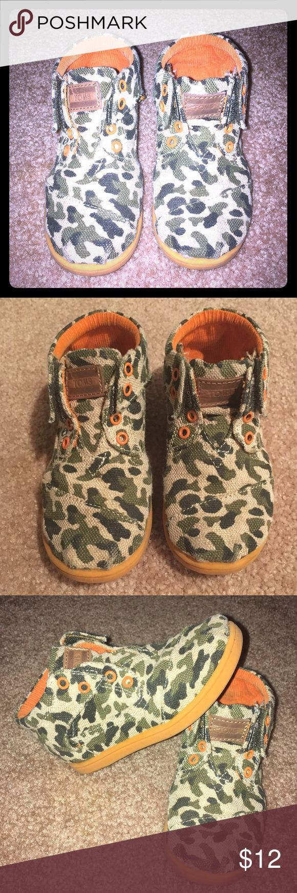 """Camo TOMS These will be adorable on your toddler! These are so cute and my son always got compliments on his """"cool boots"""" when he wore them. Easy Velcro on and off and great quality shoe. TOMS Shoes Boots"""