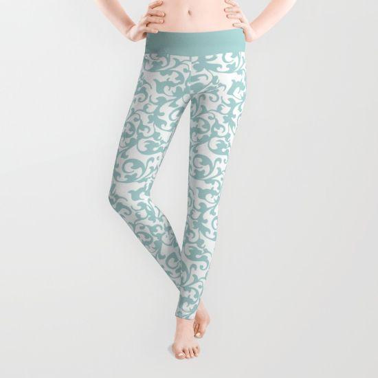 Celadon Green and White Swirls Leggings