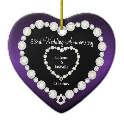 33rd or 6th Wedding Anniversary | Amethyst Purple Ceramic Ornament - anniversary gifts ideas diy celebration cyo unique