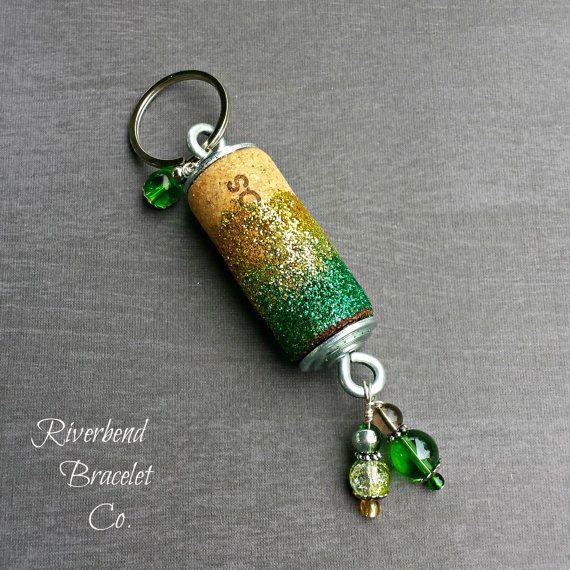 Wine Cork Keychain Glitter Keychain Beaded by RiverbendBraceletCo