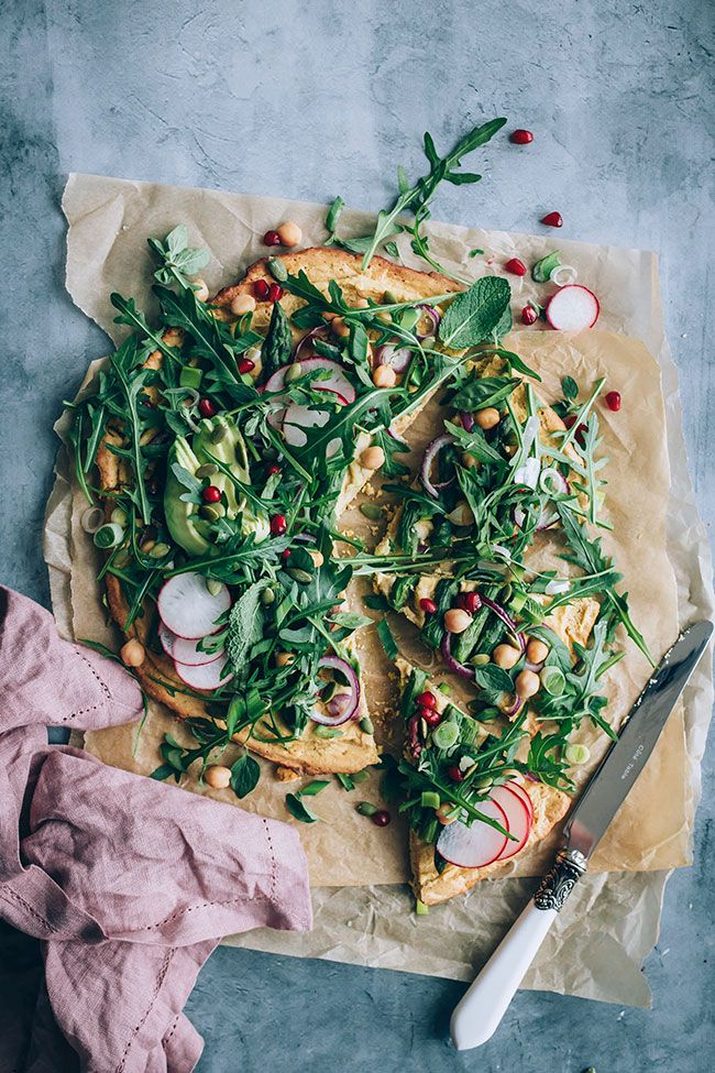 Chickpea Crust Pizza With All The Greens