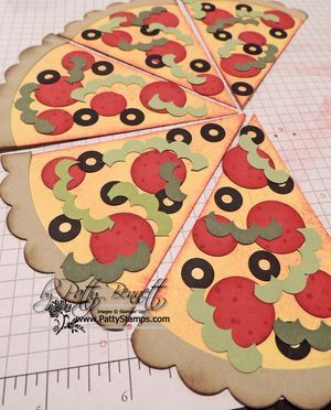 Punch art pizza pie-1 circle punch  3/4 circle punch  1/2 circle punch  handheld circle punch or crop a dile (for inside of olive) 1-3/4 scallop circle punch  2-3/8 scallop circle punch  oval scallop die (retired) Cardstock colors: Daffodil Delight, Riding Hood Red, Crumb Cake, Basic Black, Certainly Celery Pinwheels on Parade (red/white DSP):