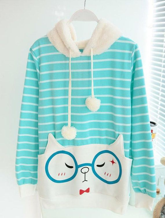 Korean Style Kitten wears Glasses Hoodie 3 Different by YJstudio, $55.00