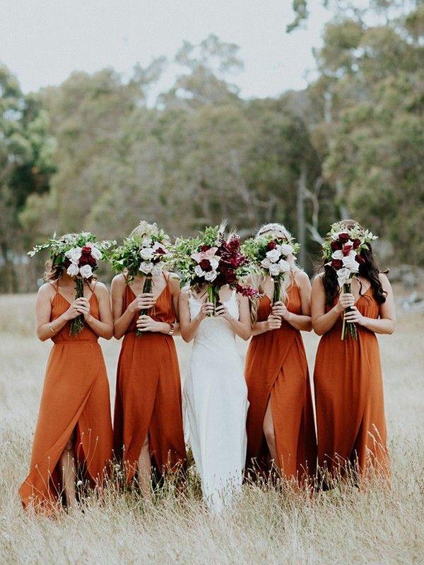 20 Vintage Sunset Orange Wedding Color Ideas For 2020 My Deer Flowers Part 2 In 2020 Orange Bridesmaid Dresses Burnt Orange Bridesmaid Dresses Orange Bridesmaid