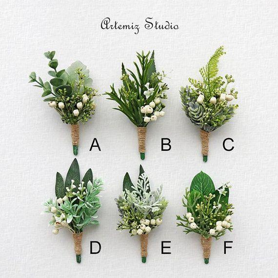Greenery Ivory Wedding Boutonniere Wrist Corsage Set Retro Fake Boutineer Wristlet Fern Olive Babysbreath Buttonhole Flowers Men Lapel Decor