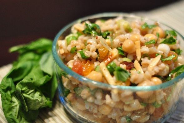 Barley and chickpea salad with basil almonds and golden raisins recipe