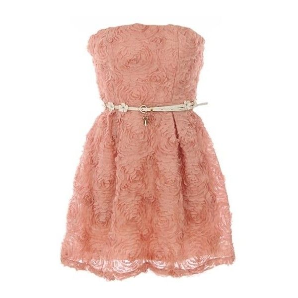 Swirled Cupcake Dress ❤ liked on Polyvore featuring dresses, vestidos, pink, short dresses, short strapless dresses, red dress, short a line dresses and red a line dress